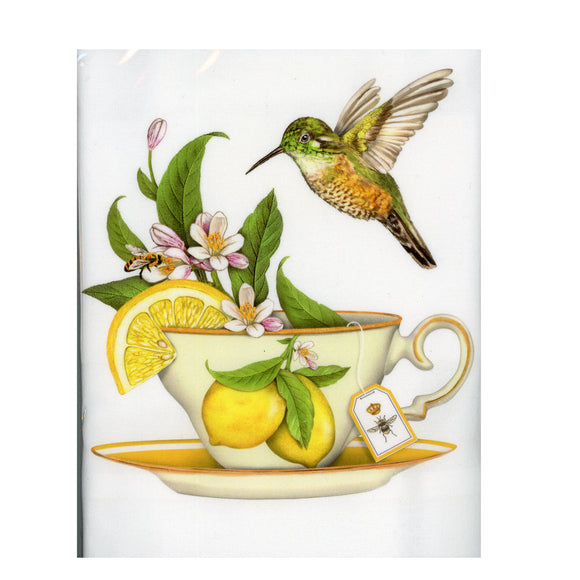 Teacup Lemon:  A single hand folded flour sack towel with a decorative graphic