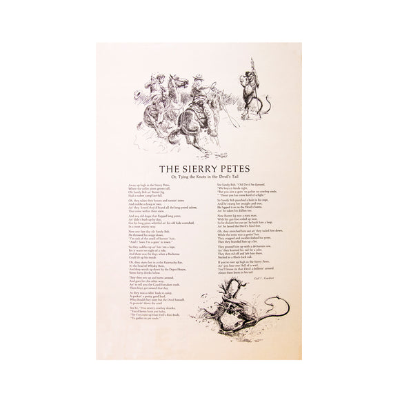 Sierry Petes (Tyin' A Knot in the Devils Tail) Poem  by Gail Gardner & Artist George Phippen    Black and White Print