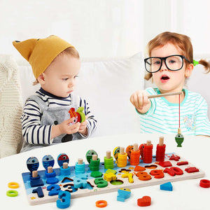 Wooden Montessori Counting Shape Cognition Toys For Children