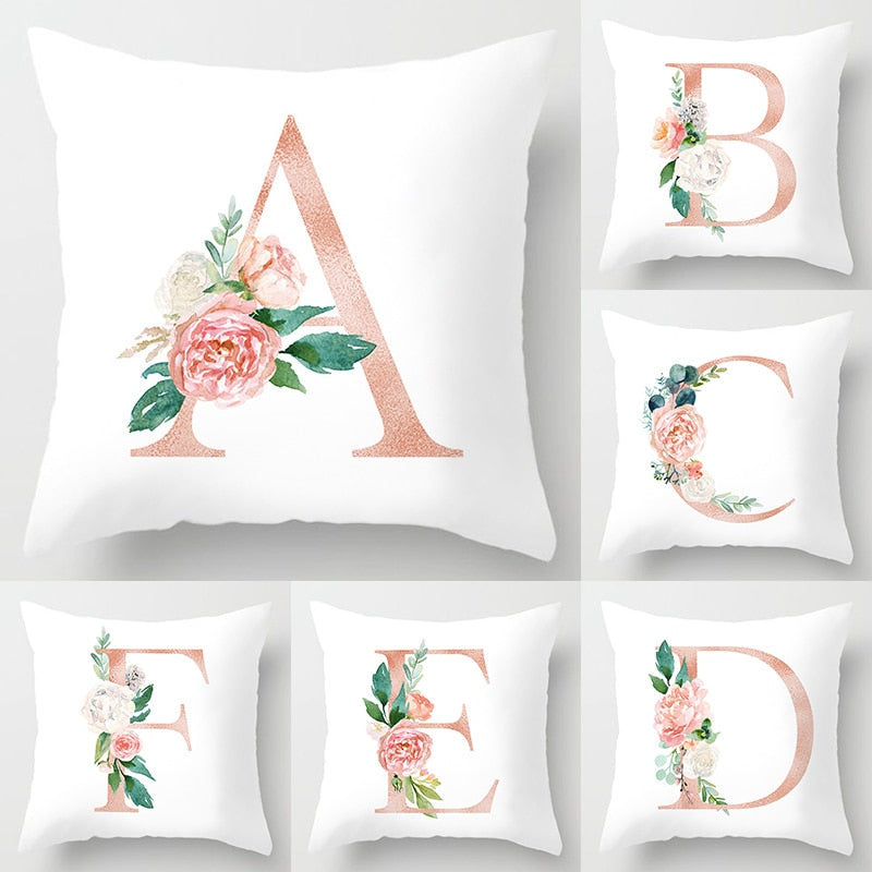 Pink Floral Alphabet Cushion Cover