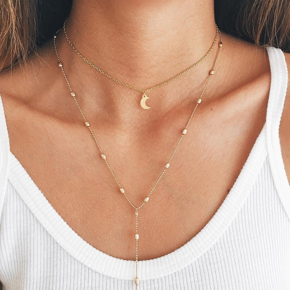 Simple Gold Layered Moon Pendant Choker Long Necklace