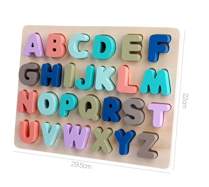 Wooden Alphabet Puzzle for Toddlers, ABC Number Blocks Educational Toy for Kids Ages 2 3 4 5