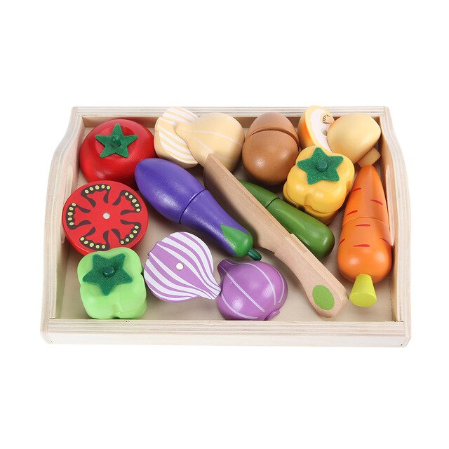 Wooden Food Toys, Pretend Play Velcro Wood Early Educational Development Play Food for 3, 4, 5, 6 Year Old Kids