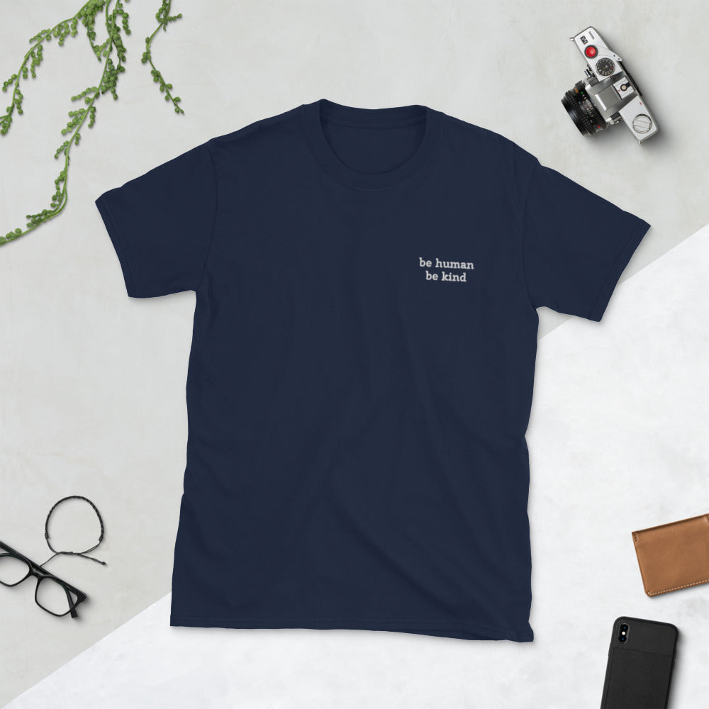Men's 'Be Human, Be Kind' Embroidered T-Shirt