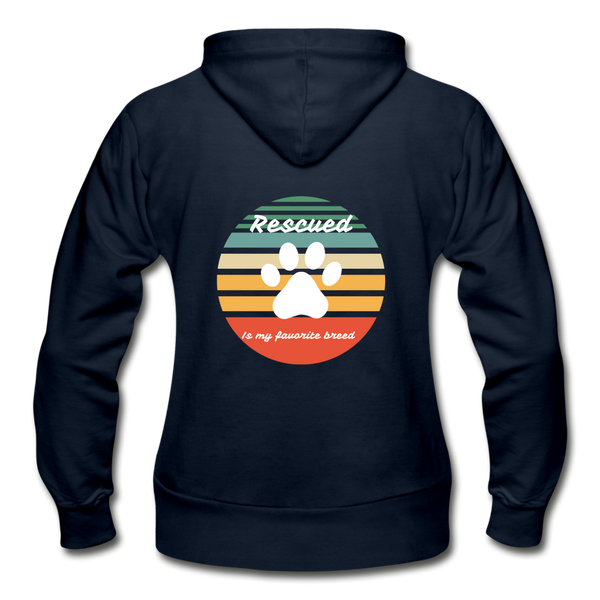 Rescued is my favorite breed Women's Zip Hoodie - navy