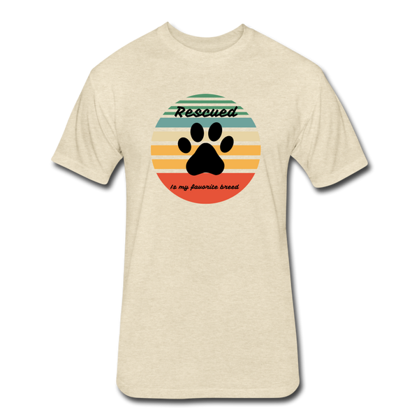 Rescued is my favorite breed Athletic Fit T-Shirt - heather cream