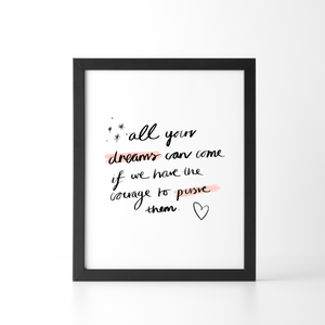 All Your Dreams Can Come True, Disney, Teal, Blue, Summer, Calligraphy, Art Print