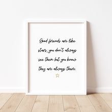 Load image into Gallery viewer, Good Friends Are Like Stars - Hand Lettering Print