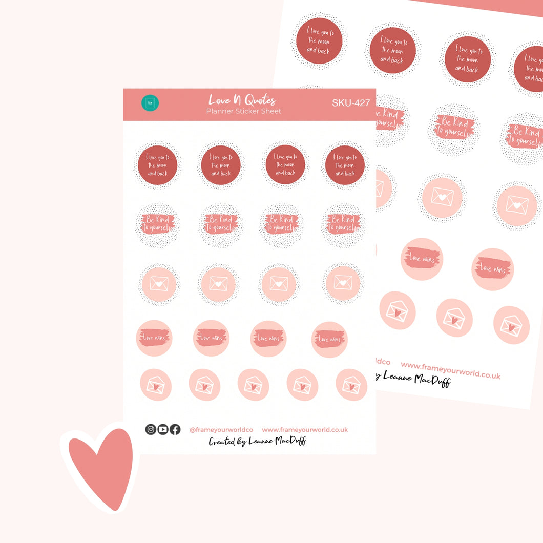 Love 'N' Quotes Planner Stickers
