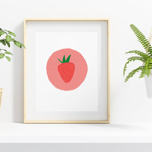Strawberry Pop Art Illustration Print