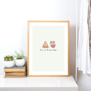 Can We Be Friends? Kwaii Friendship Quote Illustration Print
