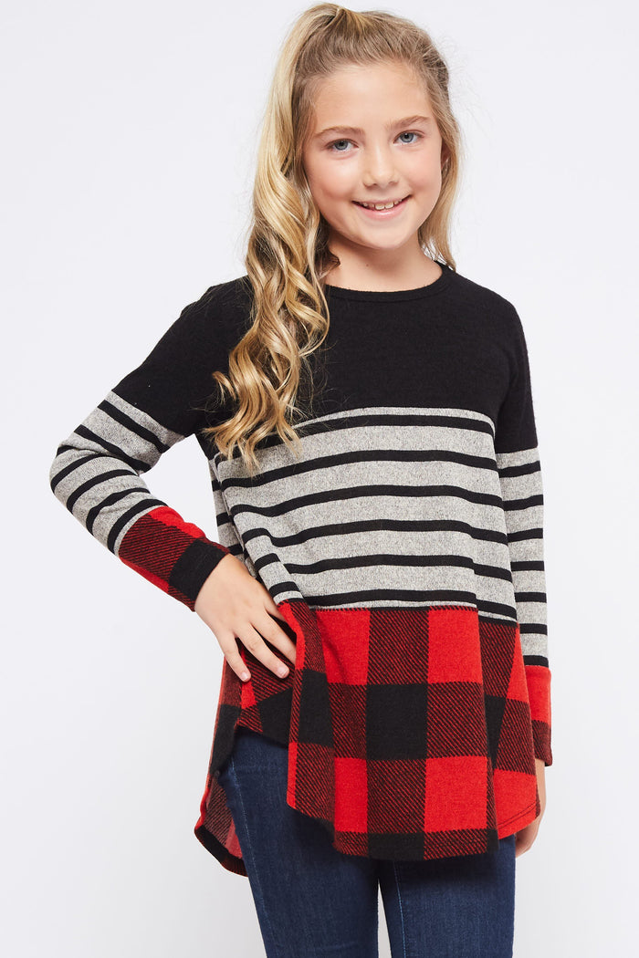 Girls Plaid Striped Top-2 Colors Available