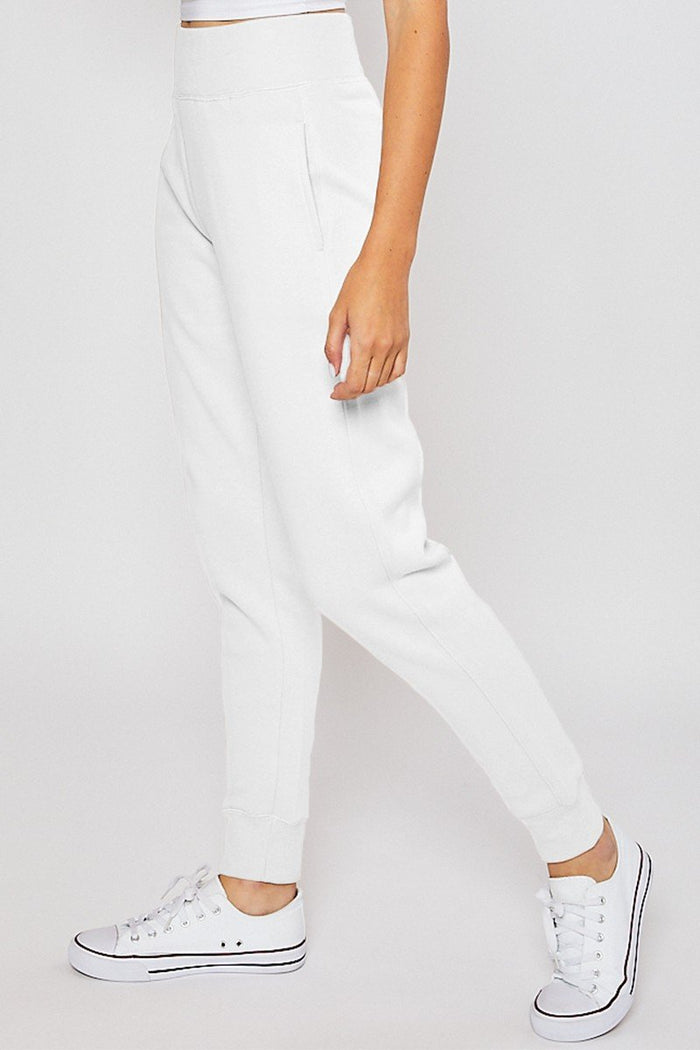 White Wide Elastic Band Jogger