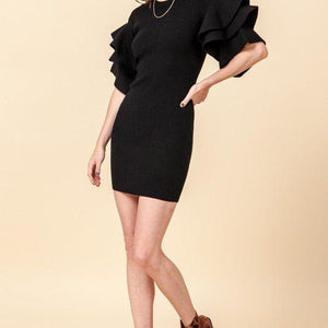 Black Ruffle Sleeve Sweater Dress