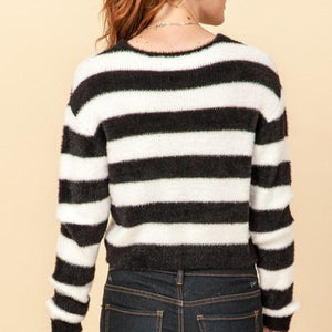 Black & White Striped Cropped Sweater