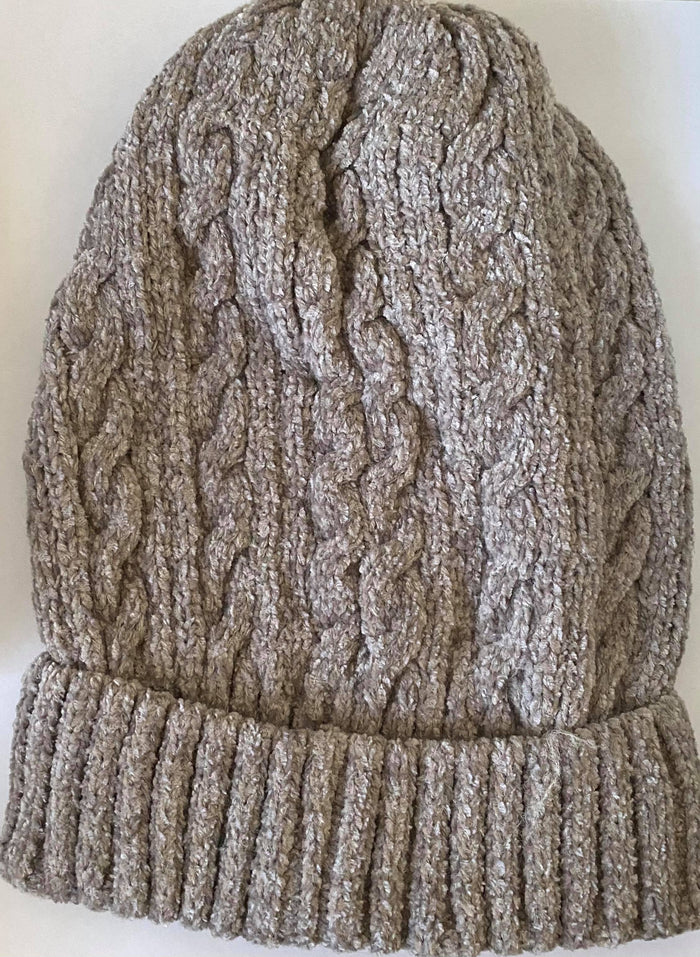 Gray/Taupe Chenille Beanie