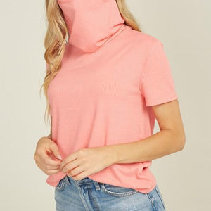 Ribbed Short Sleeve Top Cowl Neck Mask Top Off White