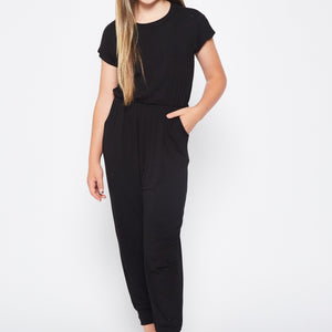 BLACK KIDS SIZE SOLID JUMPSUIT