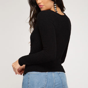 Black Crossover Sweater