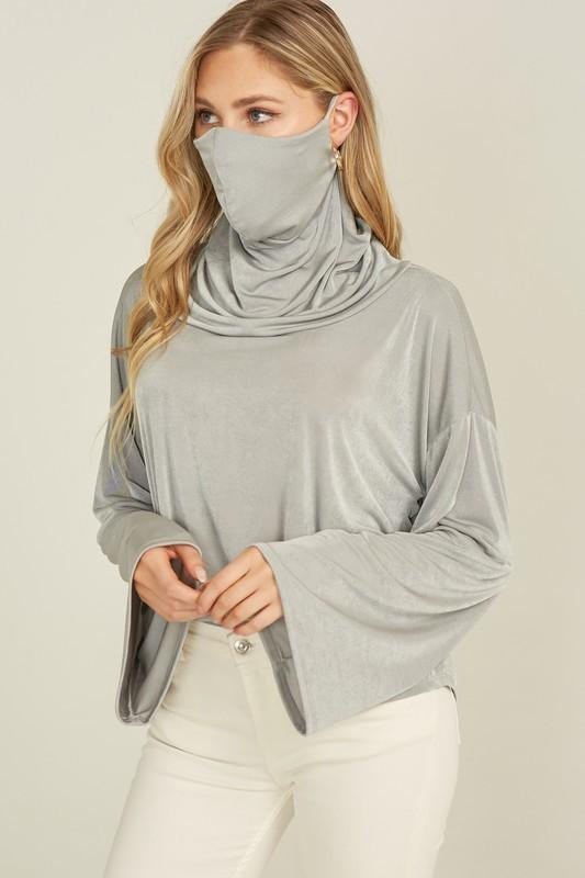 Jersey Top Bell Sleeve Cowl Neck Mask Top Silver or Black