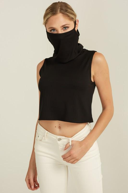 Ribbed Crop Tank Top Cowl Neck Mask Top Black