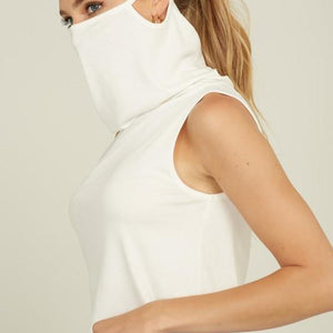 Ribbed Crop Tank Top Cowl Neck Mask Top Cream