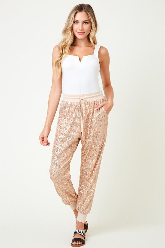 Gold Sequin Joggers