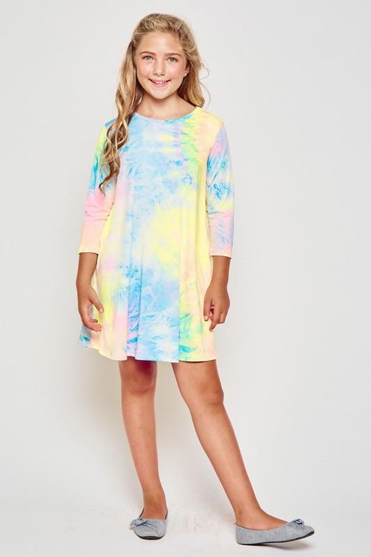 KIDS SIZE DTY Tie dye swing dress