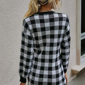 Black & Cream Check Sweater Dress