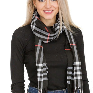 Plaid Fringe Scarf- 3 Colors Available