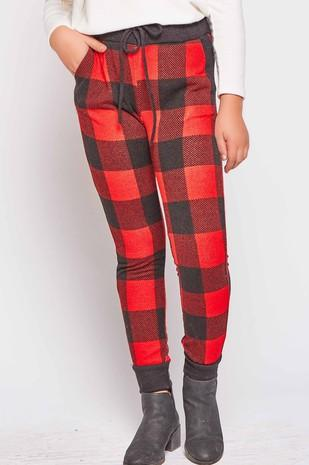 Girls Plaid Drawstring Legging