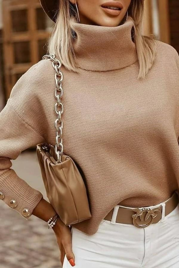 Khaki Pearl Turtleneck