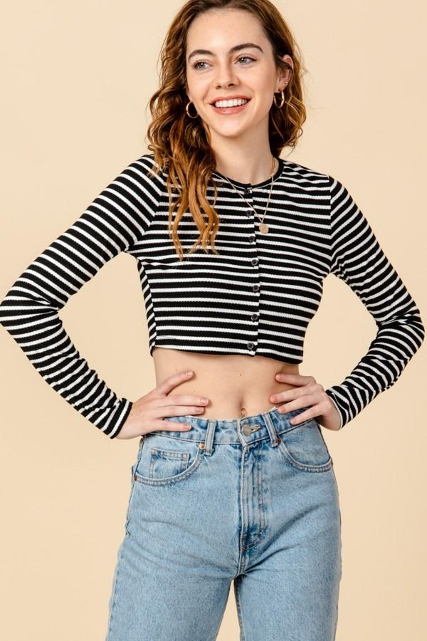 Striped Button Crop Top