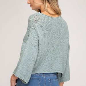 Mint Crochet High Low Sweater