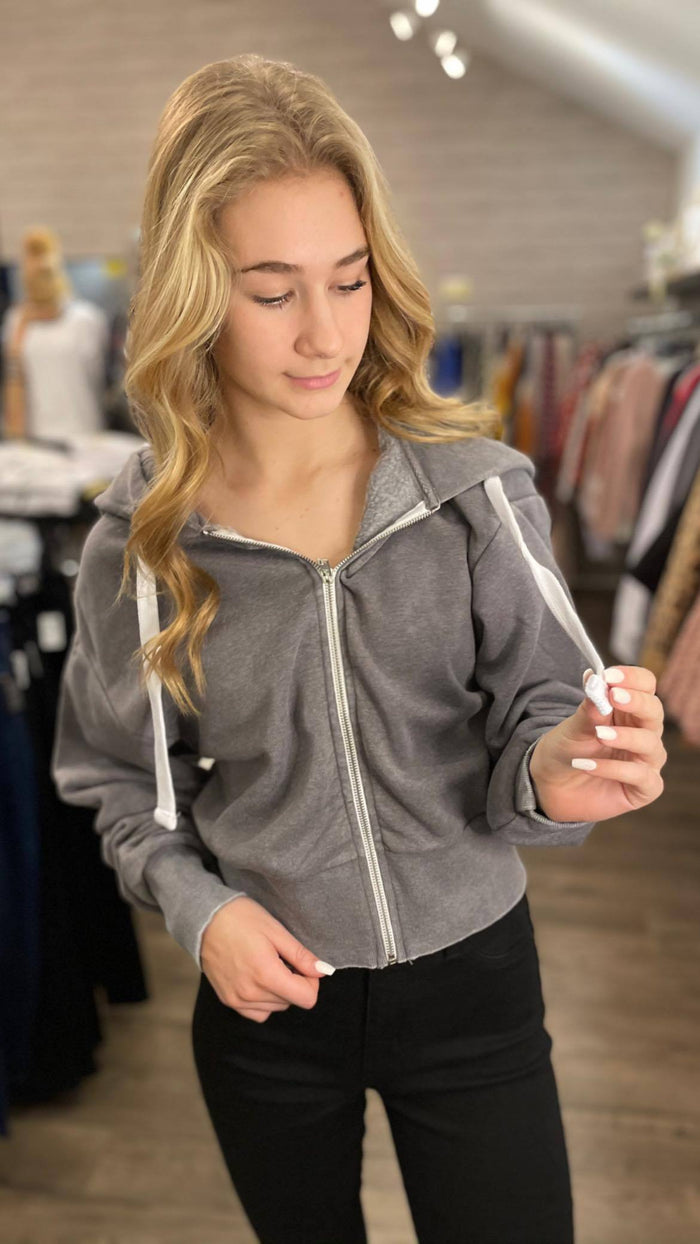 Heather Gray Acid Wash Fleece Zip Up