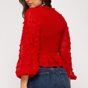 Red Peplum L/S Top