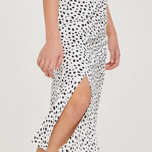 POLKA DOP CHEETAH ANIMAL PRINT MID SKIRT WITH SLIT
