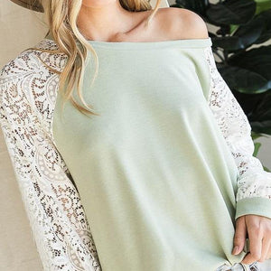 Sage Lace Sleeve Top