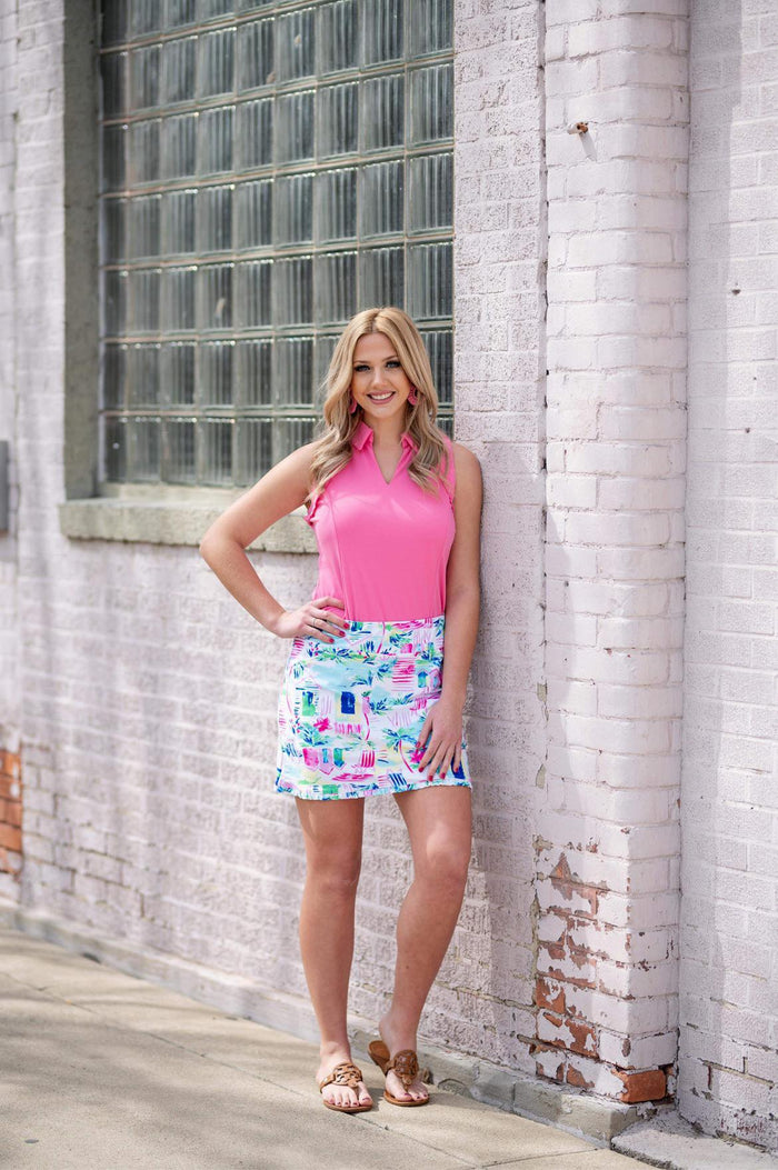 WHITE AND PINK PRINT SKORT