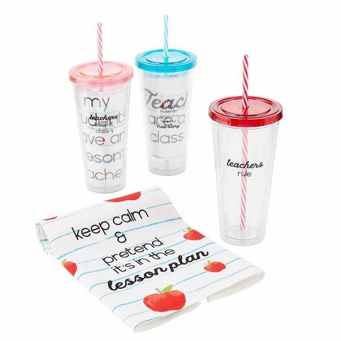 Teacher Tumbler w/ Printed Towel (3 Colors)