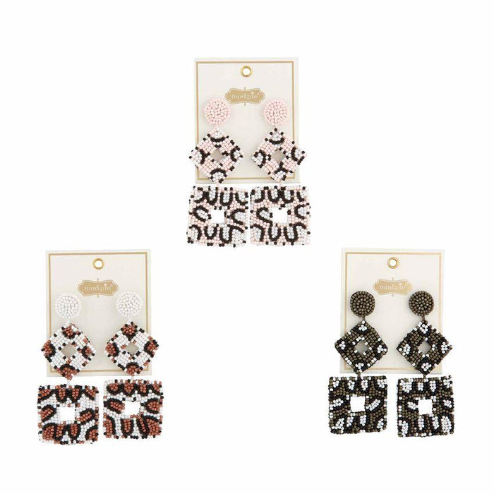 Square Bead Earring- 3 Colors Available