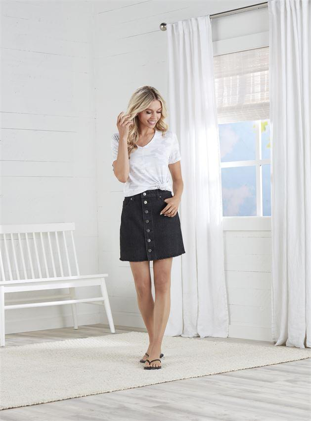 Black Denim Button Skirt