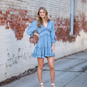 DUSTY BLUE RUFFLE V NECK DRESS