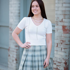 Olive Plaid Skirt
