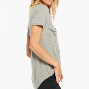 COTTON SLUB POCKET TEE DUSTY SAGE