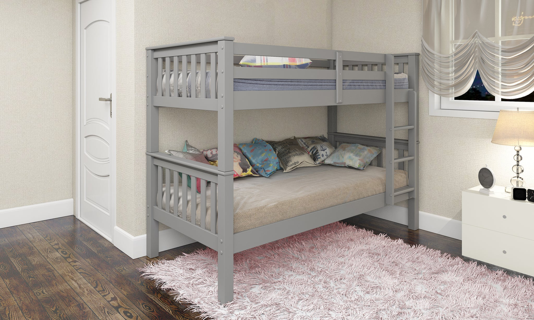 Single Bunk Bed 3FT Single Wooden frame in Grey