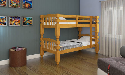 Single Bunk bed wooden frame in Natural colour