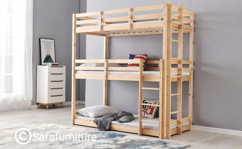 Wooden Triple Sleeper Bunk Bed