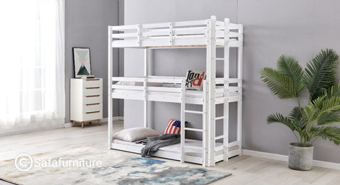 White Wooden Triple Sleeper Bunk Bed Frame