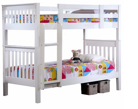 Single Bunk Bed for Kids 3FT Wooden Frame in White